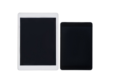 close up view of pair of digital tablets with blank screens isolated on white Banco de Imagens