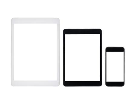 デジタル錠と白で隔離空白の画面を持つスマート フォンのセット 写真素材