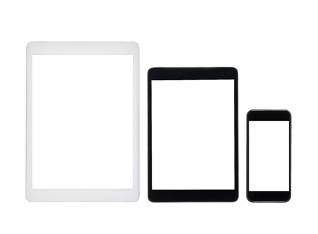 set of digital tablets and smartphone with blank screens isolated on white Stok Fotoğraf