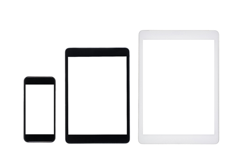 set of tablet computers and smartphone with blank screens isolated on white Banco de Imagens
