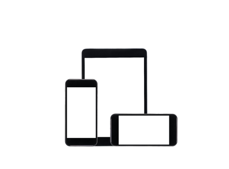 black tablet computer and smartphones with blank screens isolated on white