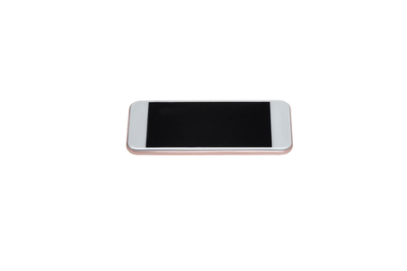 close up of modern smartphone with blank screen isolated on white