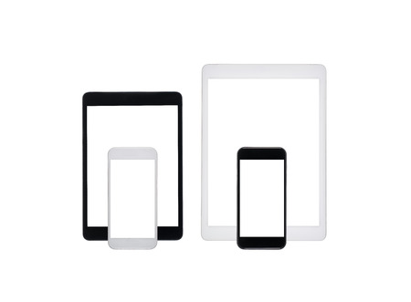 close up view of digital tablets and smartphones isolated on white