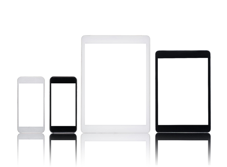 set of digital tablets and smartphones with blank screens isolated on white