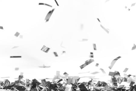 Zilveren stukken dalende confettien op wit Stockfoto - 89881973