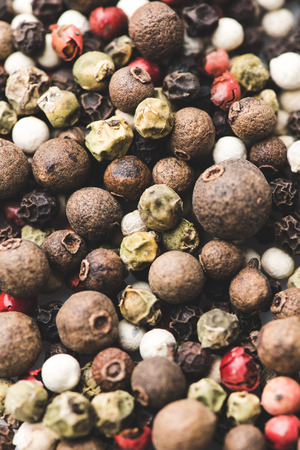 close-up shot of various spicy peppercorns