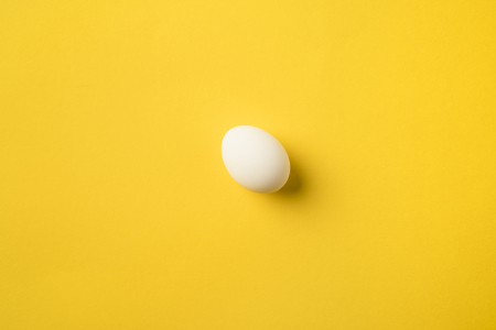 Uncooked Chicken egg isolated on yellow