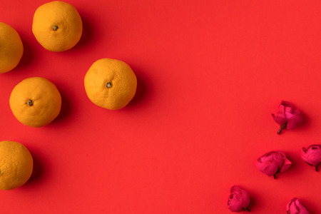 top view of fresh ripe tangerines and flowers isolated on red  Banco de Imagens
