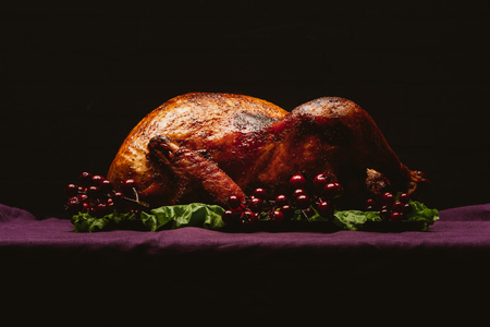 Baked turkey on salad leaves with cranberries on violet tablecloth on black background