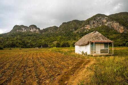 山の中の小さな家の美しい風光明媚な風景 写真素材