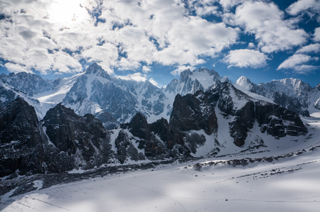 scenic view of beautiful winter mountains landscape