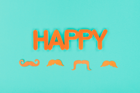 happy sign with mustaches Imagens