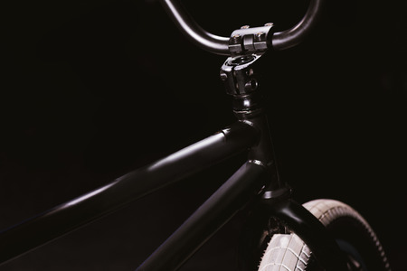 close-up view of bmx bicycle frame isolated on black