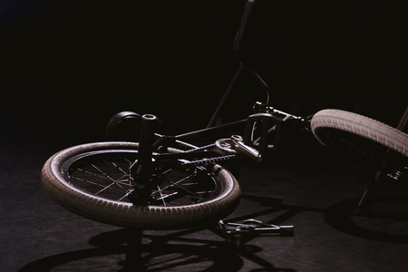 professional bmx bicycle in studio on black