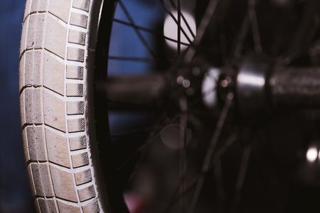 close-up view of bmx bicycle wheel