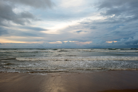 beautiful seascape on cloudy evening at tropical beach Stock Photo