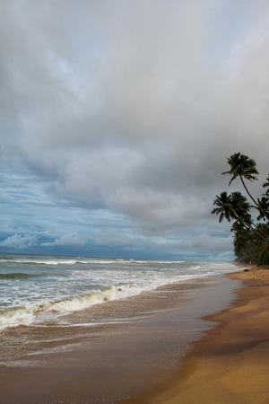 열 대 해변에서 폭풍우 치는 날에 아름 다운 경치