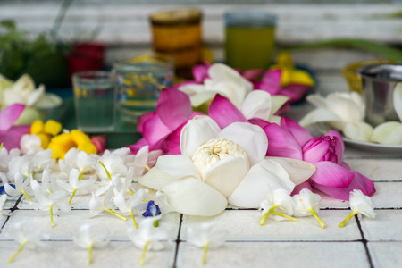 beautiful flowers on tiles at buddha temple Stock Photo