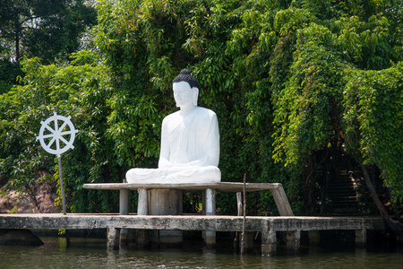 buddha statue on river bank in Sri Lanka