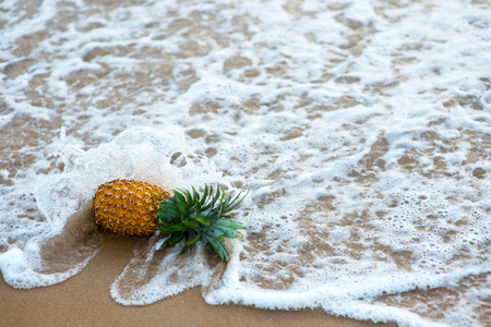 pineapple on sandy beach fallen by ocean wave Stock Photo