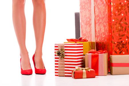 benen en geschenkdozen Stockfoto