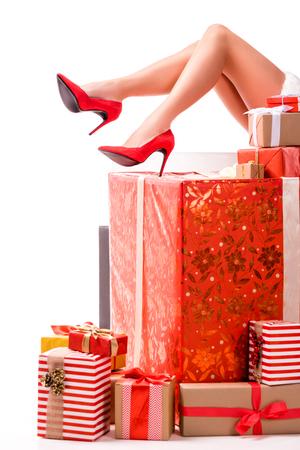 santa girl with gift boxes