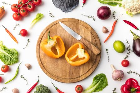 Cut pepper and knife Stock fotó