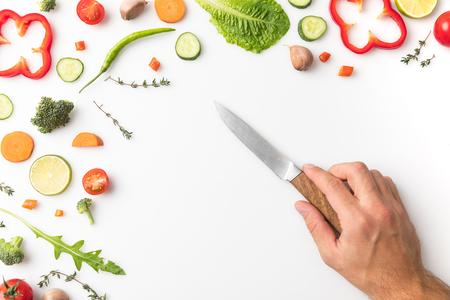 man putting knife on table Stock fotó