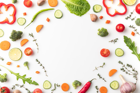 circle of cut vegetables