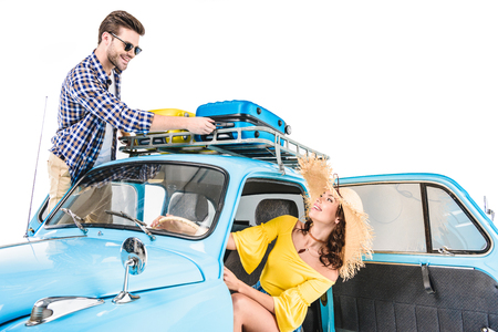 couple of tourists in car Stock Photo