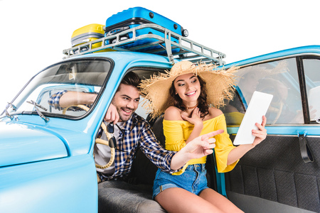 couple with map in car