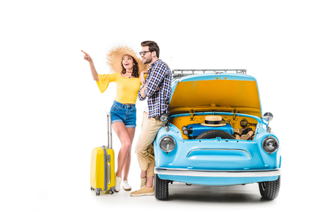 travelers with luggage standing by car 스톡 콘텐츠