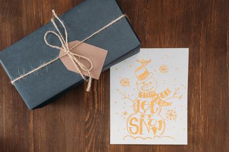 gift box and christmas card Stock Photo