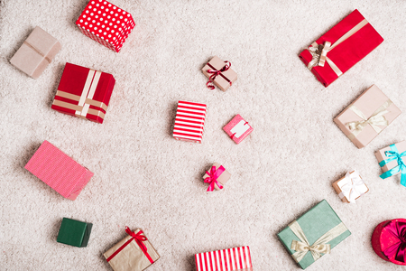 christmas gifts on floor