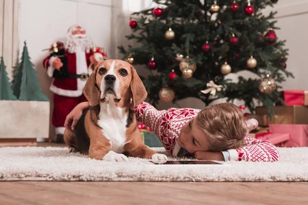 boy with beagle dog on christmas stock photo 92190803 - Christmas Beagle