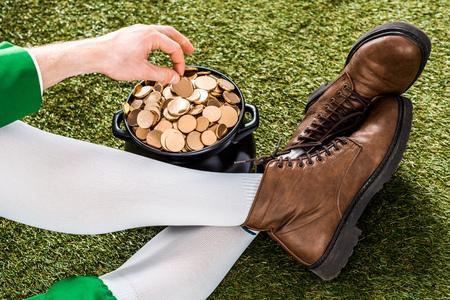 leprechaun with golden coins in pot sitting on green grass