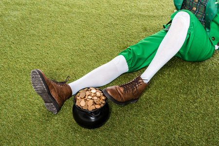 leprechaun with pot of gold sitting on green grass