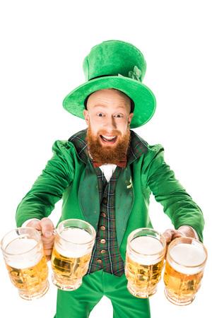 leprechaun celebrating st patricks day with glasses of beer