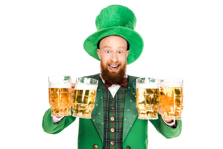 excited leprechaun celebrating st patricks day with glasses of beer