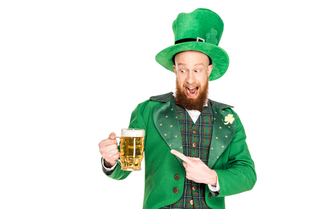 leprechaun pointing at glasses of beer
