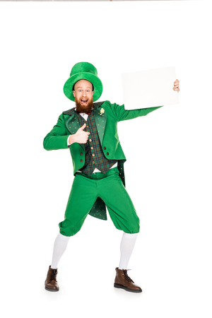 leprechaun with thumb up and blank placard
