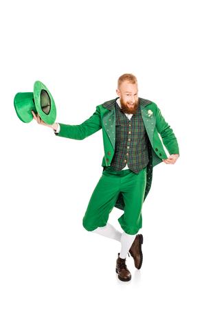 Knappe kabouter in groen kostuum met hoed Stockfoto - 93126627
