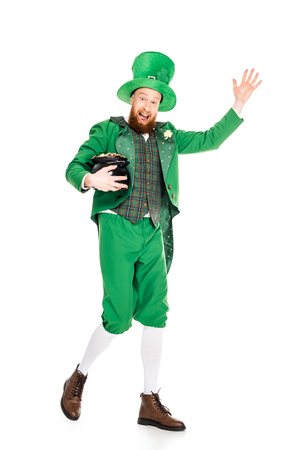 leprechaun waving and holding pot of gold