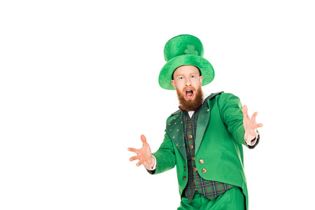 excited handsome leprechaun in green suit and hat