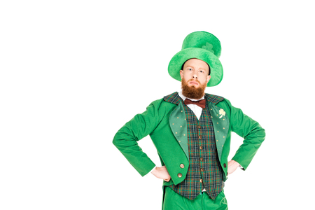 handsome leprechaun in green suit and hat,