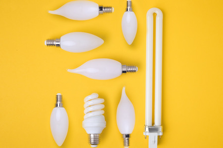 top view of set of various white lamps