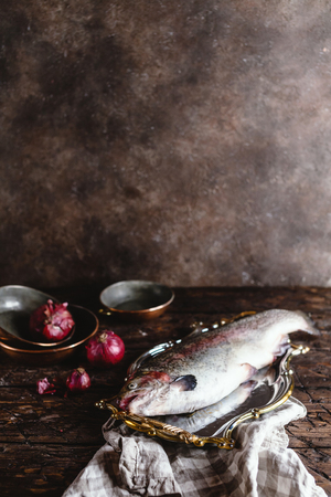 fresh raw fish on vintage plate and onions on rustic table