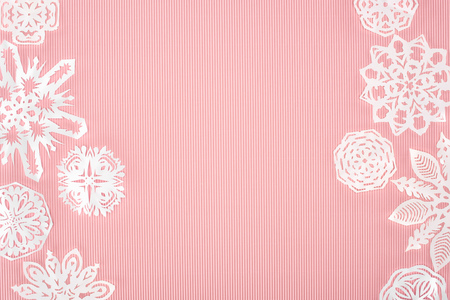 christmas background with paper snowflakes Stock Photo