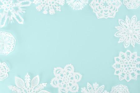 christmas frame with decorative snowflakes Stock Photo
