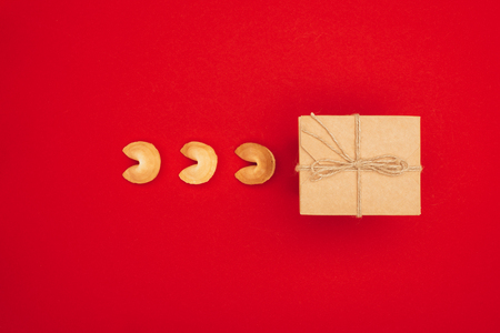 chinese fortune cookies and box wrapped in kraft paper, Chinese New Year concept